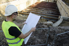 Architect on construction site. Royalty Free Stock Photos