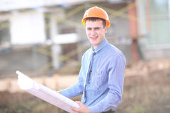 Architect Construction Site Planning Working Concept. Outdoor Royalty Free Stock Image