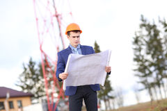Architect Construction Site Planning Working Concept. Outdoor Stock Image