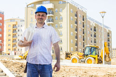 Architect at construction site Royalty Free Stock Image