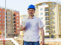 Architect at construction site Royalty Free Stock Images