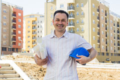 Architect at construction site Stock Images