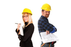 Architect and construction worker Stock Photos