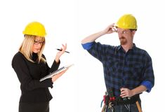 Architect and construction worker stock photo