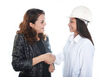 Architect and constructor shaking hands Royalty Free Stock Photo