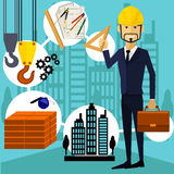 Architect constructor worker at his work place Stock Image