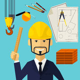 Architect constructor worker at his work place Royalty Free Stock Photo