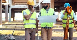 Architect consult engineer on construction site. Architect consult engineer on construction or building site Royalty Free Stock Photography