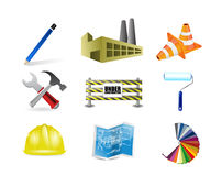 Architect or contractor concept icon set Royalty Free Stock Photo