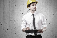 Architect controlling. At construction site Stock Photos