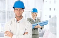 Architect coworkers in office royalty free stock images