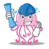 Architect cute jellyfish character cartoon stock illustration
