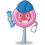 Architect cute lollipop character cartoon. Vector illustration Royalty Free Stock Image