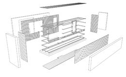 Architect 3d drawing of balcony Stock Images