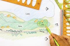 Architect design golf course plan.