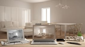 Architect designer concept, laptop and tablet on wooden work desk with screen showing interior design project and CAD sketch, blur. Red draft in the background stock photography