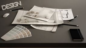 Architect designer concept, table close up with interior renovation draft, bathroom interior design blueprint drawings, sample col stock image