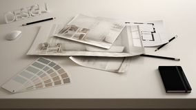 Architect designer concept, table close up with interior renovation draft, bathroom interior design blueprint drawings, sample col. Or palette, white creative royalty free stock images