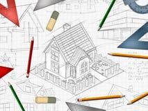 Architect designer desktop background. Illustration Royalty Free Stock Images