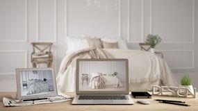 Architect designer desktop concept, laptop and tablet on wooden desk with screen showing interior design project and CAD sketch. Blurred draft in the royalty free stock images