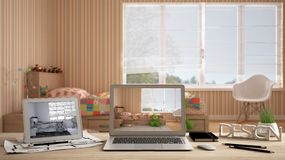 Architect designer desktop concept, laptop and tablet on wooden desk with screen showing interior design project and CAD sketch, b. Lurred draft in the royalty free stock photography