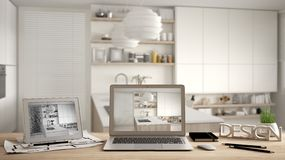 Architect designer desktop concept, laptop and tablet on wooden work desk with screen showing interior design project and CAD sket. Ch, blurred draft in the royalty free stock photo