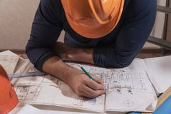 Architect or designer in the process of work. Working man stock images