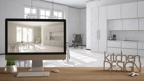 Architect designer project concept, wooden table with house keys, 3D letters words kitchen design and desktop showing draft, bluep vector illustration