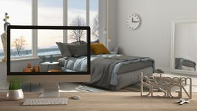 Architect designer project concept, wooden table with keys, 3D letters making the words bedroom design and desktop showing draft,. Blurred space in the Stock Photography