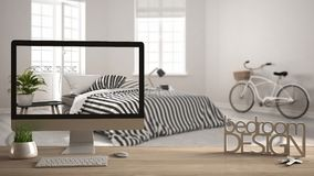 Architect designer project concept, wooden table with keys, 3D letters making the words bedroom design and desktop showing draft,. Blurred space in the Royalty Free Stock Images