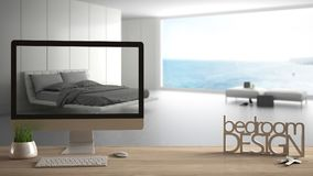 Architect designer project concept, wooden table with keys, 3D letters making the words bedroom design and desktop showing draft,. Blurred space in the Royalty Free Stock Photo