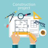 Architect designer for project drawings. Architectural project. Planning construction of house.  Vector, flat. Architect Hands with pencil and ruler Royalty Free Stock Images