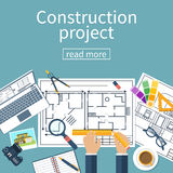 Architect designer, project drawings. Stock Photography