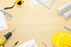 Architect, designer work desk with projects and tools for measuring royalty free stock photos