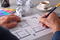 Architect designing the interior of a house elevated Stock Image