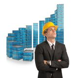 Architect designs success ladder Royalty Free Stock Photography
