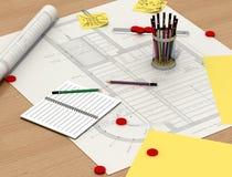 Architect desk royalty free illustration