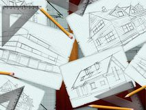 Architect desk background. Architect desk with pencils and rulers background Royalty Free Illustration