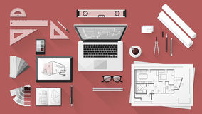 Architect desk. Architect and designer desk with tools, tablet and computer Royalty Free Stock Images