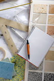 Architect desk designer workplace spiral notebook Stock Photo