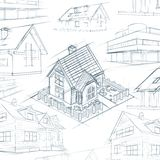 Architect desktop house sketch background Royalty Free Stock Images