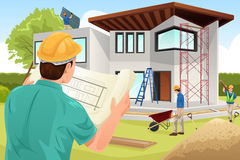 Architect die bij de bouwwerf werken Stock Afbeeldingen
