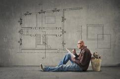 Architect die een huis ontwerpen royalty-vrije illustratie