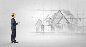 Architect die zich met huisplan bevinden vector illustratie