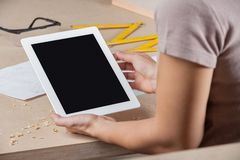 Architect With Digital Tablet At Table Royalty Free Stock Photos