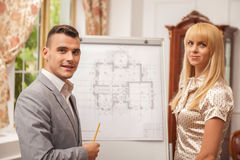 Architect discussing a new project Stock Photo