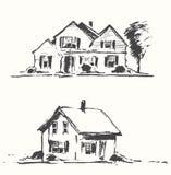Architect draft houses vector illustration drawn. Stock Image