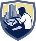Architect Draftsman Drawing Shield Retro. Illustration of an architect draftsman holding pencil and t-square drawing viewed from side set inside shield crest Royalty Free Stock Photo
