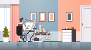 Architect drawing blueprint urban building plan on adjustable board panning project concept engineer sitting workplace. Office draftsman studio interior royalty free illustration