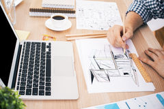 Architect drawing construction sketch Royalty Free Stock Photo
